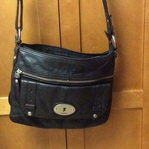 Fossil Black Leather Key Crossbody Bag